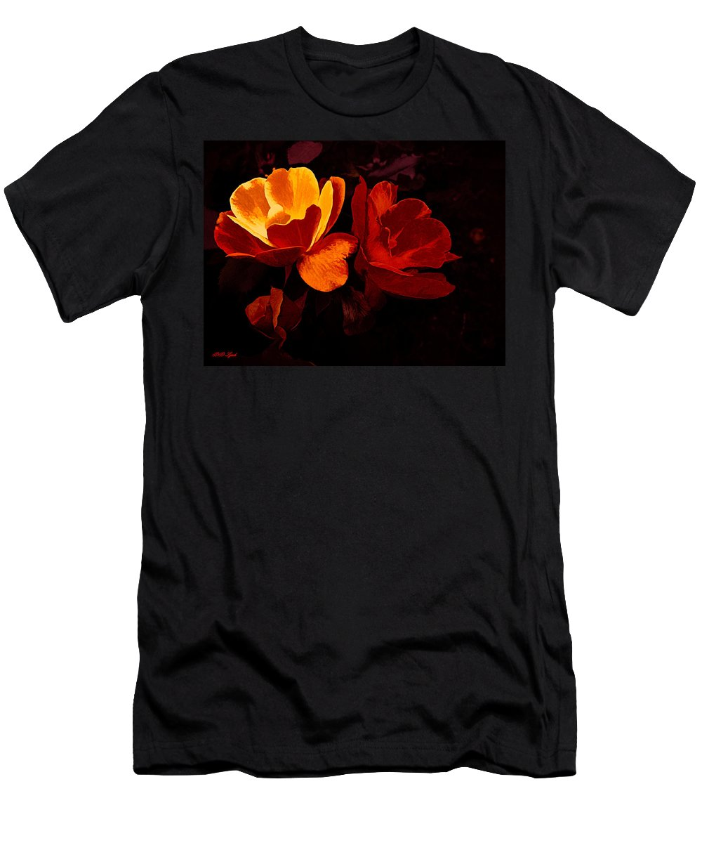 Gold Men's T-Shirt (Athletic Fit) featuring the mixed media Roses In Molten Gold Art by Debra Lynch