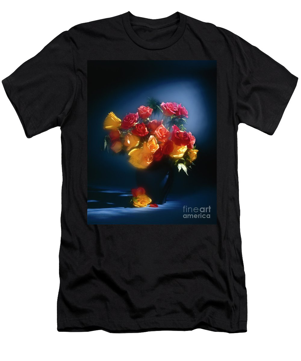 Arty Men's T-Shirt (Athletic Fit) featuring the photograph Roses In The Blue by Stefania Levi