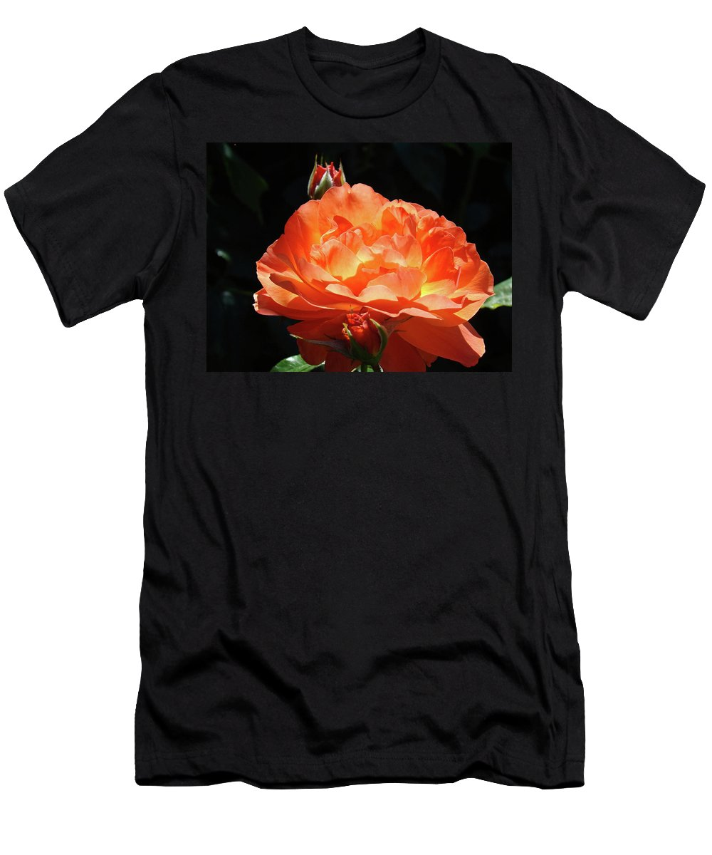 Rose Men's T-Shirt (Athletic Fit) featuring the photograph Roses Orange Rose Flowers Rose Garden Art Baslee Troutman by Baslee Troutman
