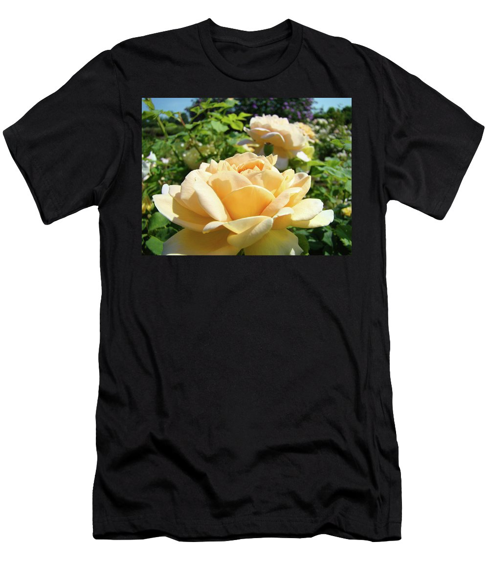 Rose Men's T-Shirt (Athletic Fit) featuring the photograph Roses Peach Art Prints Rose Flowers Garden Baslee Troutman by Baslee Troutman