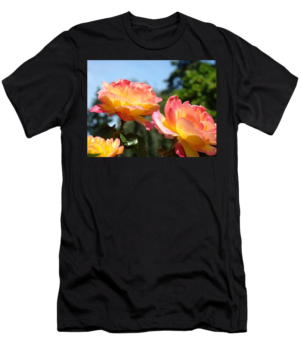 Rose Men's T-Shirt (Athletic Fit) featuring the photograph Roses Yellow Roses Pink Summer Roses 4 Blue Sky Landscape Baslee Troutman by Baslee Troutman