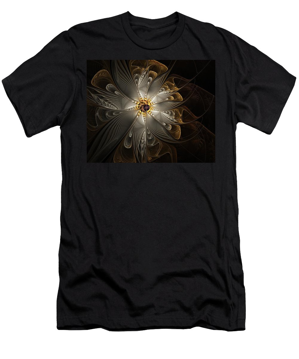 Digital Art Men's T-Shirt (Athletic Fit) featuring the digital art Rosette In Gold And Silver by Amanda Moore