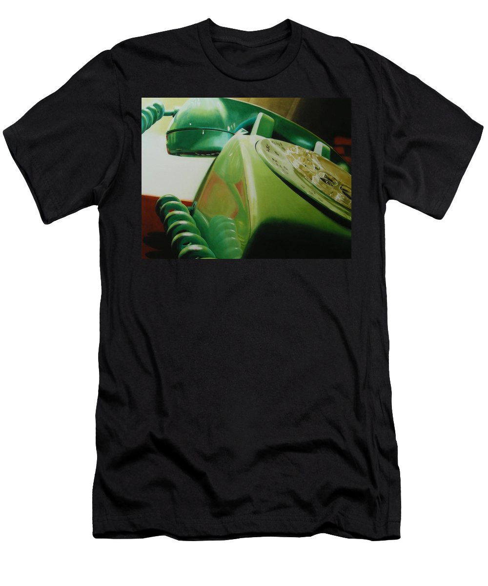 Telephone Men's T-Shirt (Athletic Fit) featuring the painting Rotary by Denny Bond