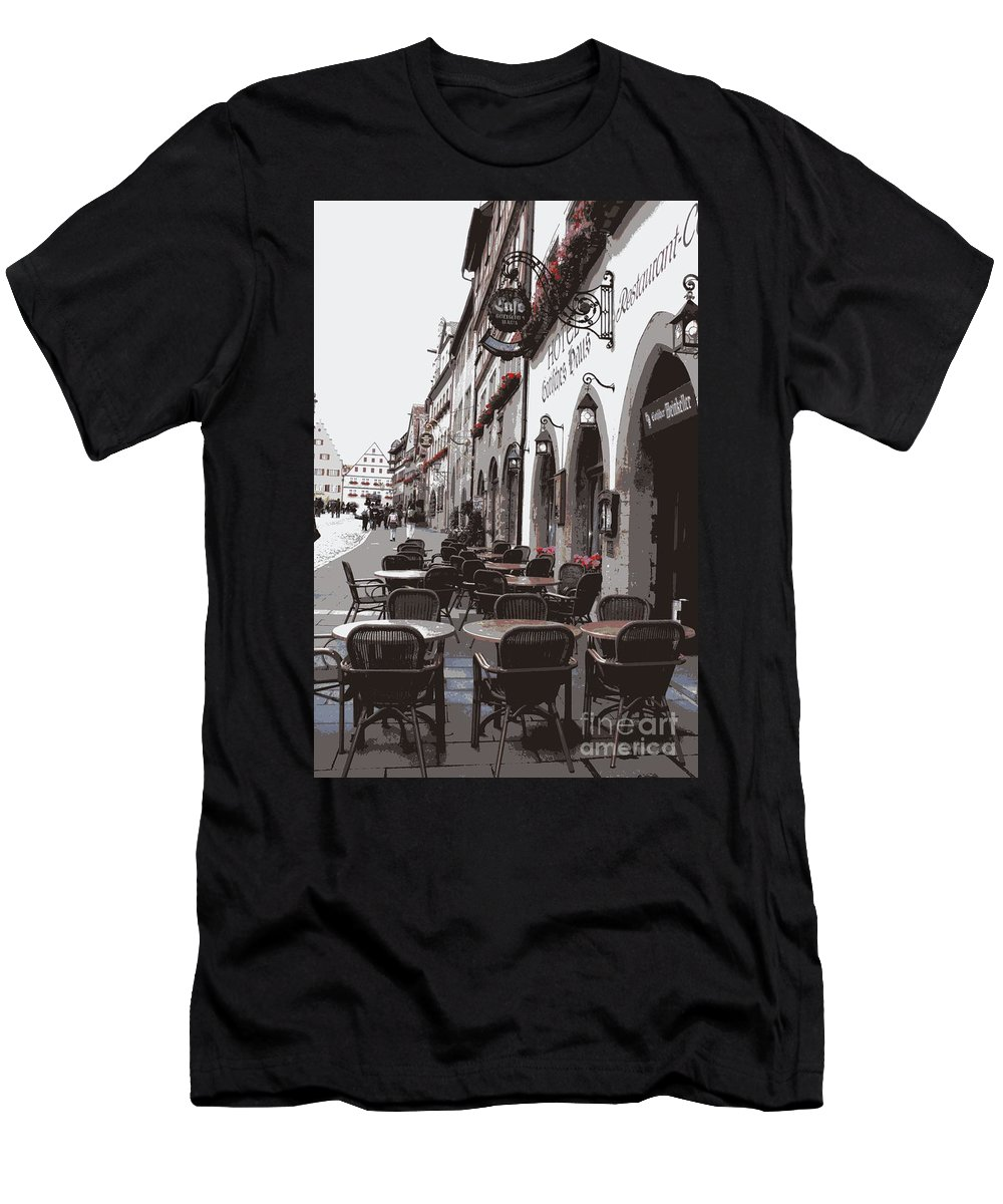 Rothenburg Men's T-Shirt (Athletic Fit) featuring the photograph Rothenburg Cafe - Digital by Carol Groenen