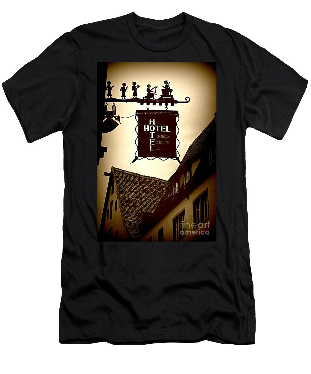 Hotel Sign Men's T-Shirt (Athletic Fit) featuring the photograph Rothenburg Hotel Sign - Digital by Carol Groenen