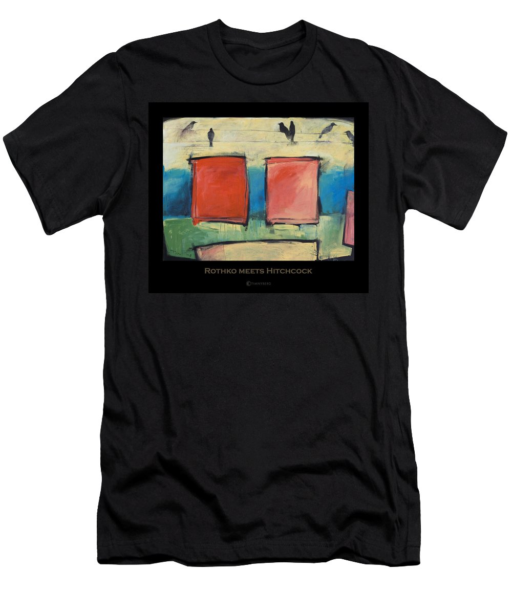 Rothko Men's T-Shirt (Athletic Fit) featuring the painting Rothko Meets Hitchcock - Poster by Tim Nyberg