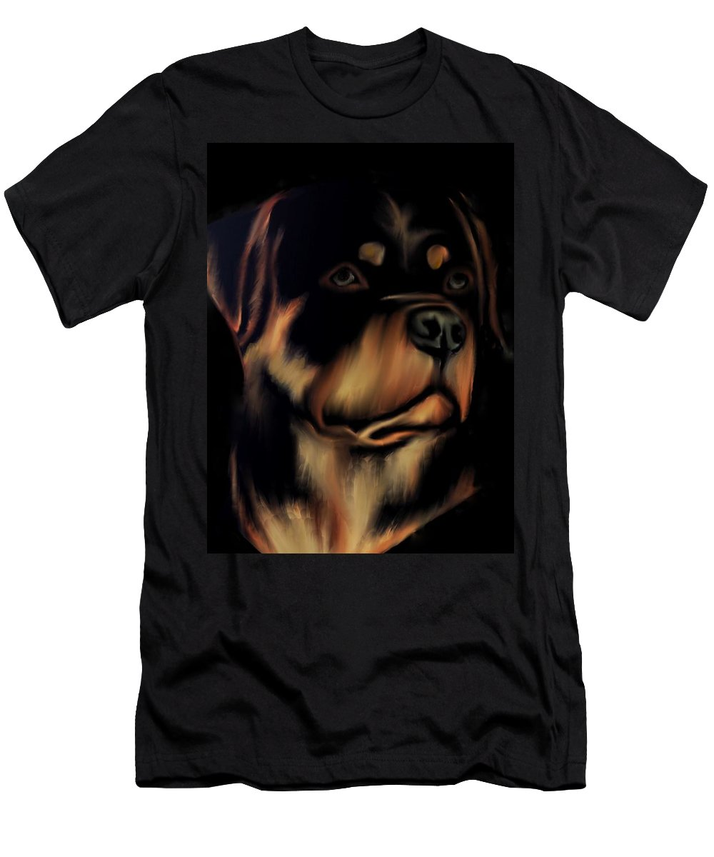 Rottweiler Men's T-Shirt (Athletic Fit) featuring the digital art Rottweiler by Immaculate World