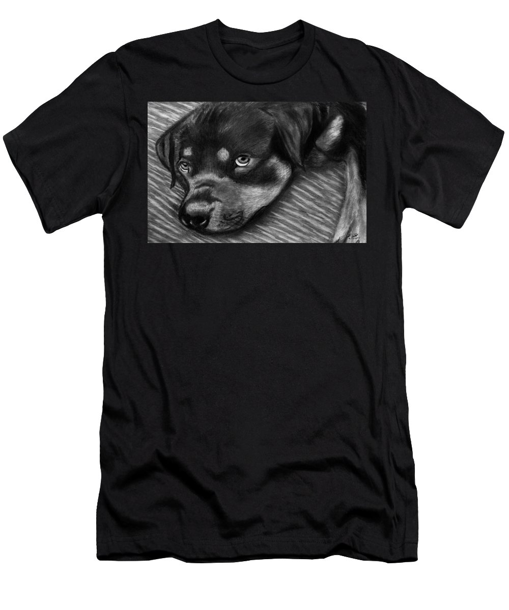 Rot Wilier Men's T-Shirt (Athletic Fit) featuring the drawing Rotty by Peter Piatt