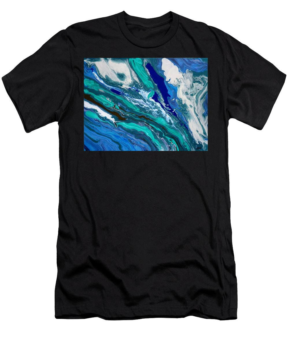 Abstract Men's T-Shirt (Athletic Fit) featuring the painting Rough Seas by Carole Sluski