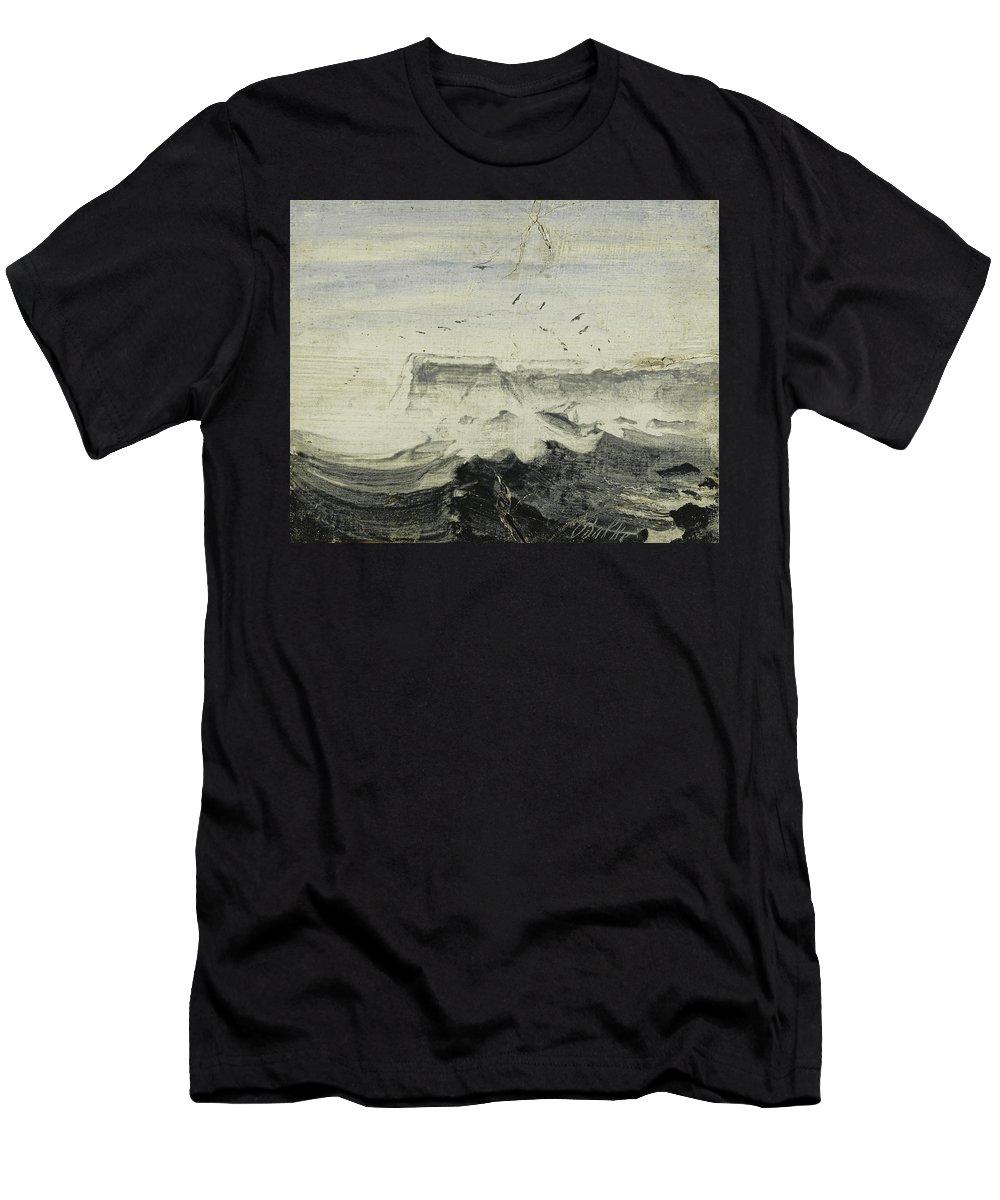 Peder Balke Men's T-Shirt (Athletic Fit) featuring the painting Rough Seas by Peder Balke
