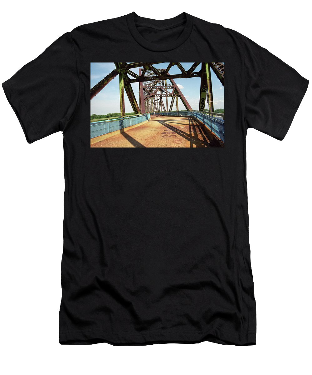 66 Men's T-Shirt (Athletic Fit) featuring the photograph Route 66 - Chain Of Rocks Bridge by Frank Romeo