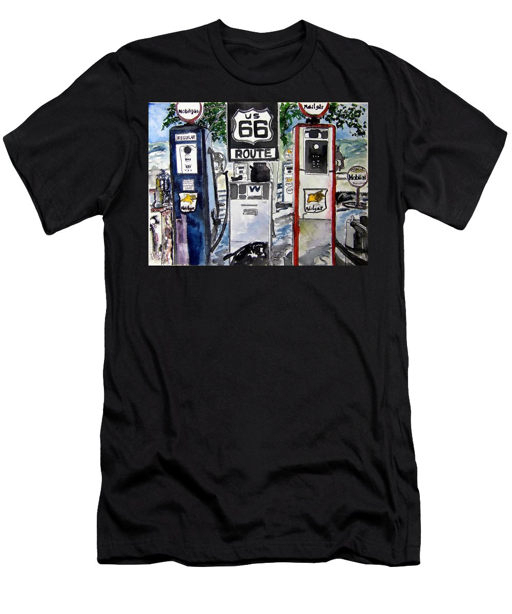 Route 66 Men's T-Shirt (Athletic Fit) featuring the painting Route 66 by Derek Mccrea