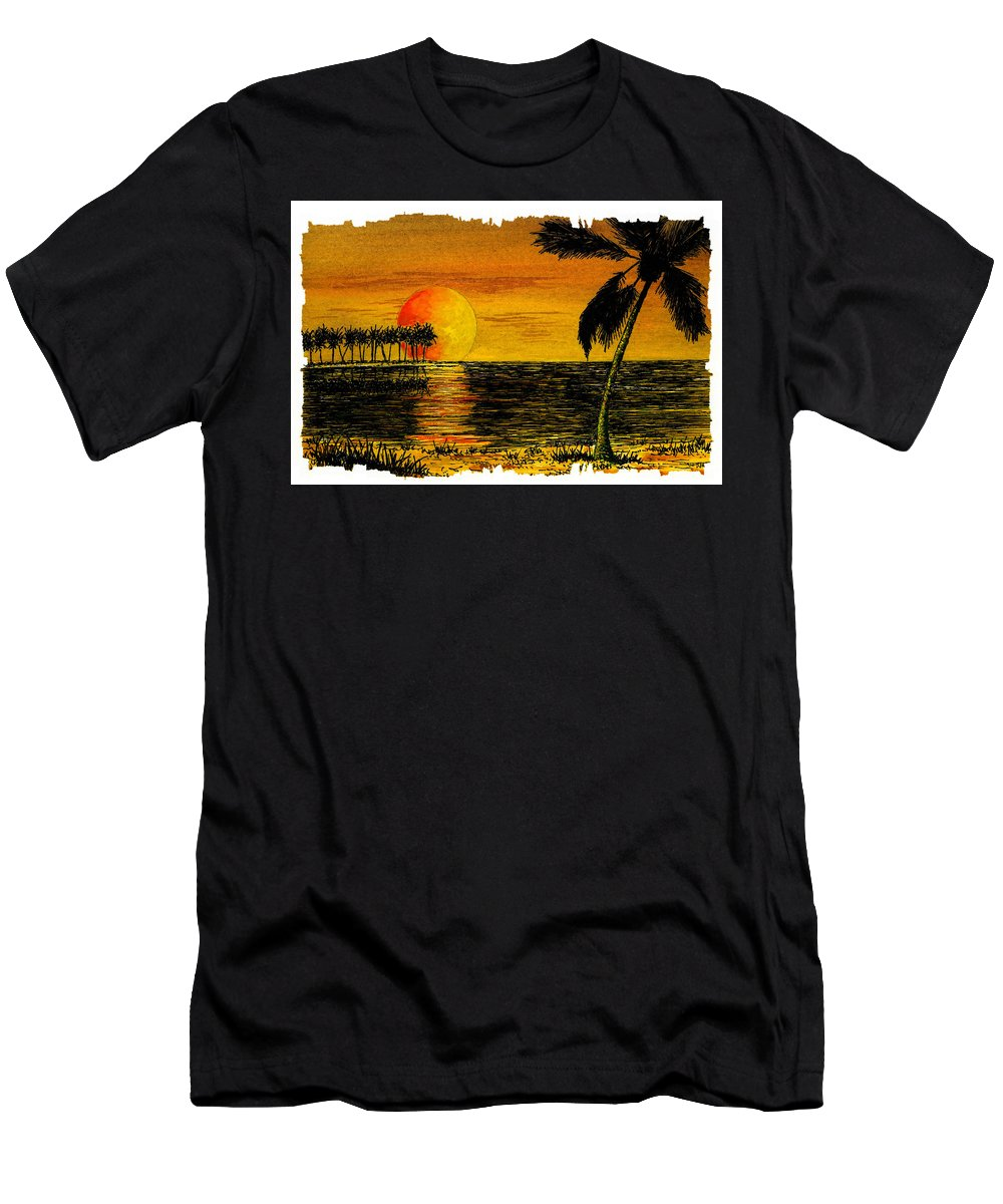 Palm Tree Men's T-Shirt (Athletic Fit) featuring the painting Row Of Palm Trees by Michael Vigliotti