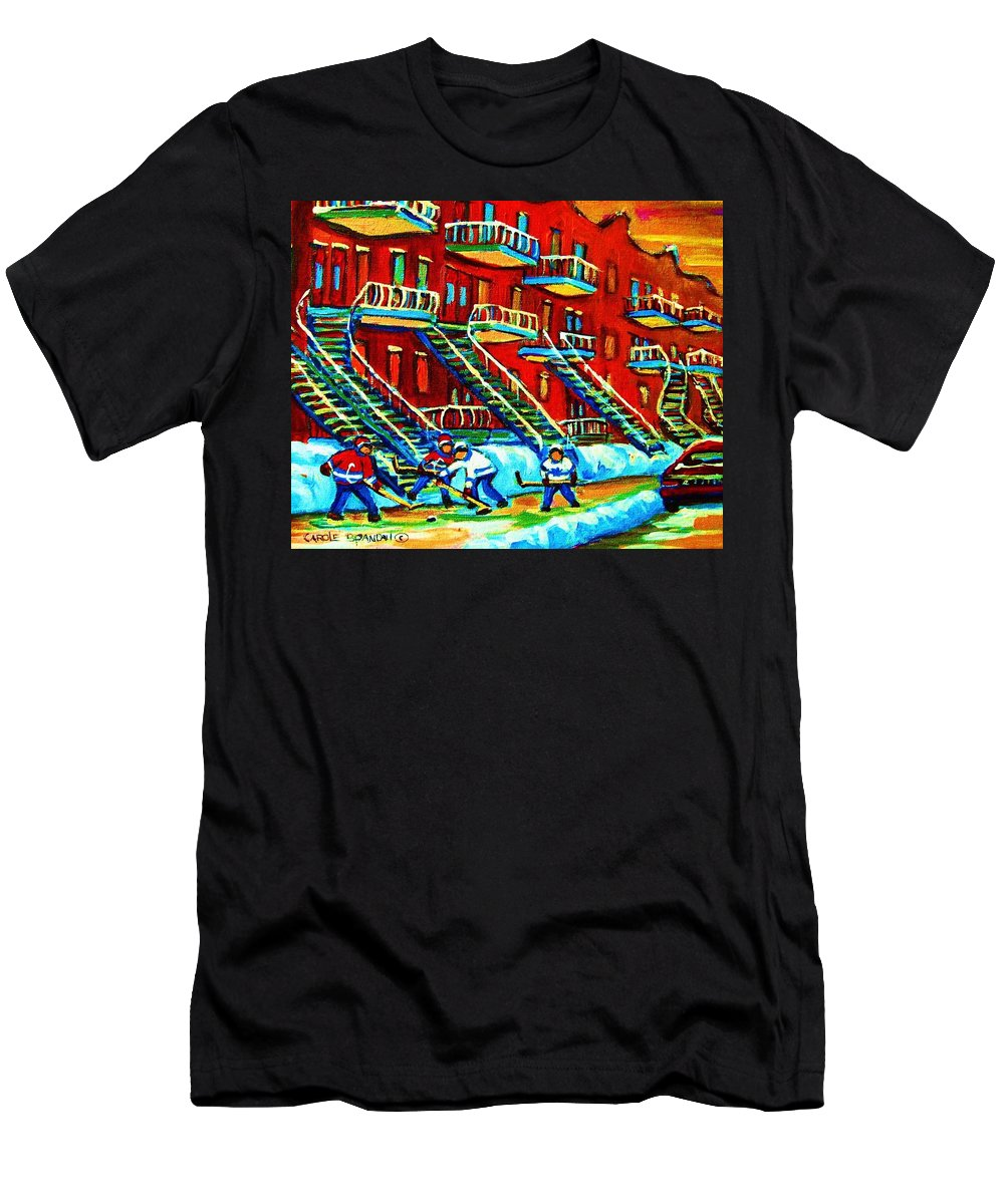 Hockey Men's T-Shirt (Athletic Fit) featuring the painting Rowhouses And Hockey by Carole Spandau