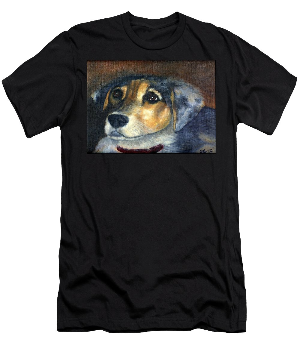 Dog Men's T-Shirt (Athletic Fit) featuring the painting Roxie by Gail Kirtz