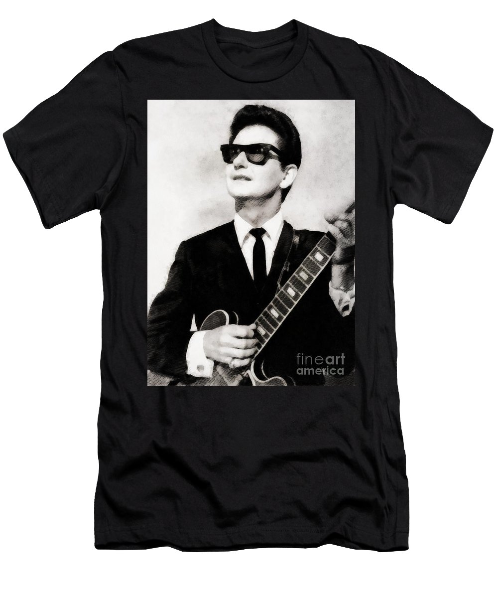 Hollywood Men's T-Shirt (Athletic Fit) featuring the painting Roy Orbison, Legend by John Springfield