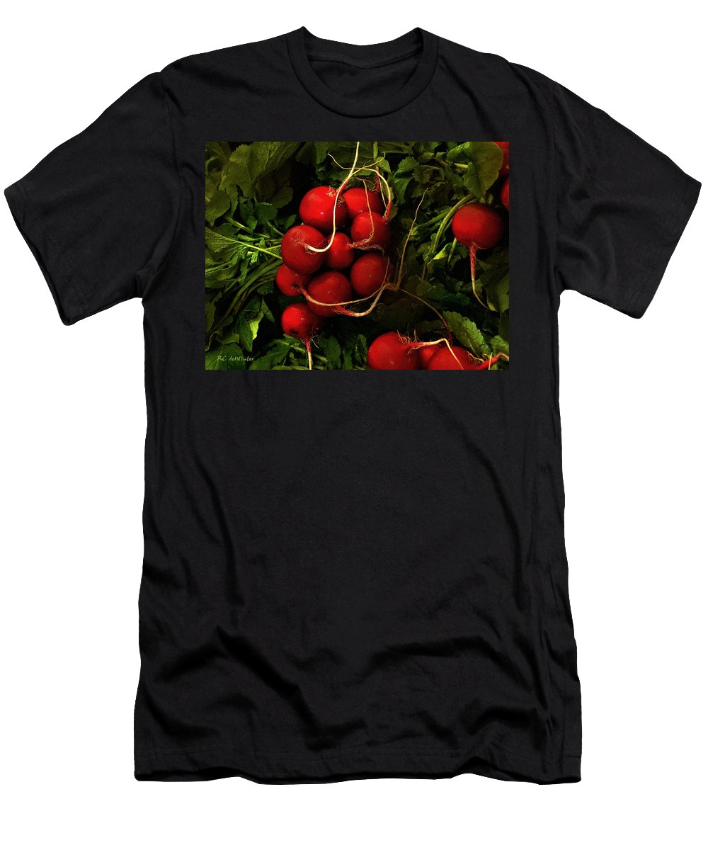 Radishes Men's T-Shirt (Athletic Fit) featuring the painting Rubies From The Field by RC DeWinter