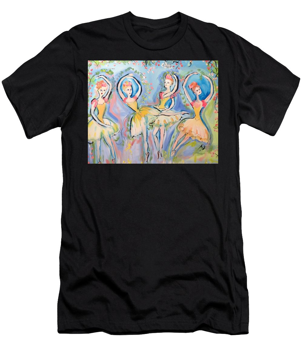 Ruby Men's T-Shirt (Athletic Fit) featuring the painting Ruby Quartette by Judith Desrosiers