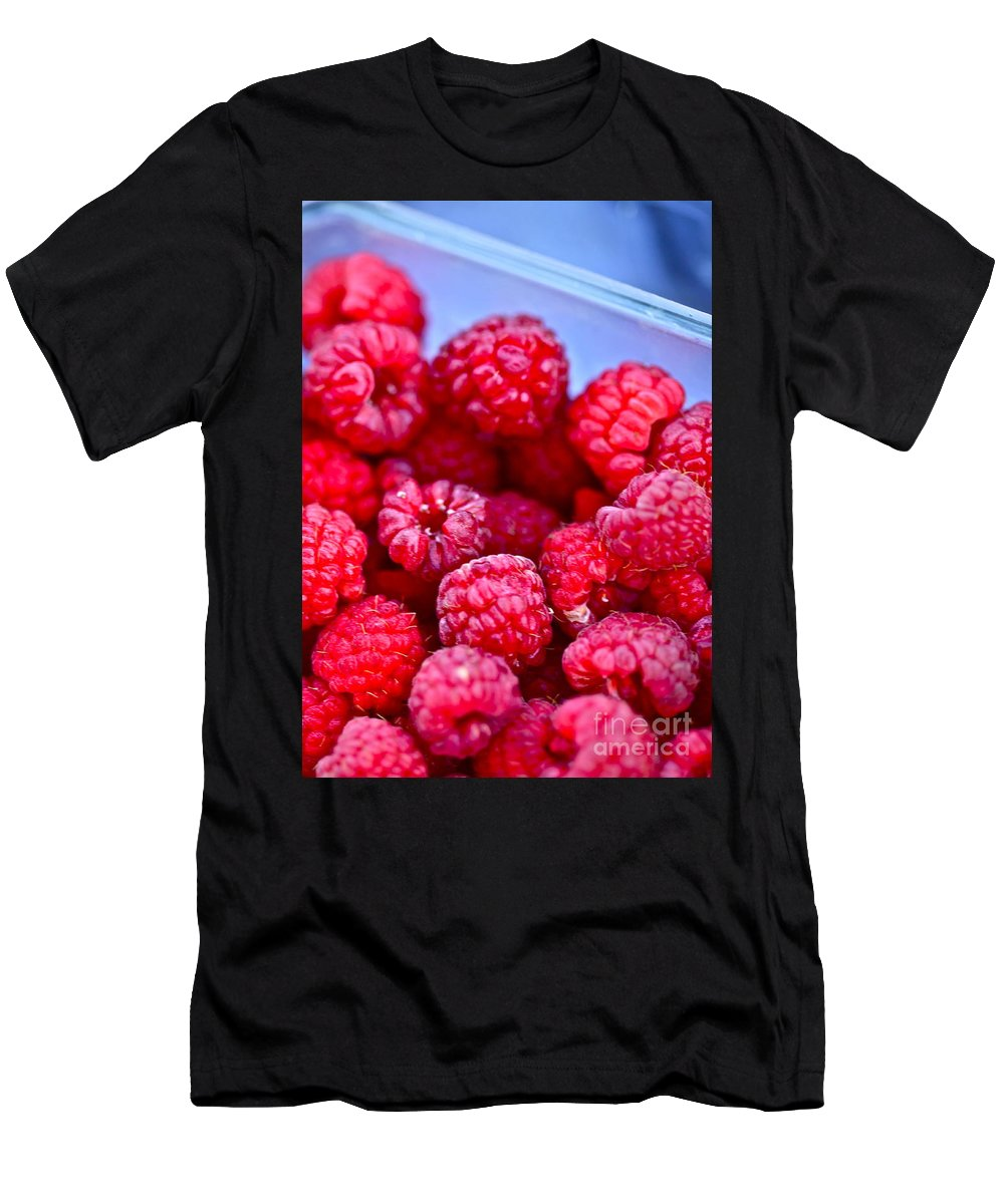 Red Men's T-Shirt (Athletic Fit) featuring the photograph Ruby Raspberries by Nadine Rippelmeyer