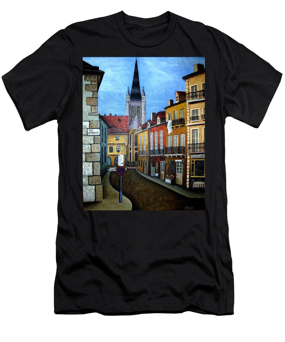 Street Scene Men's T-Shirt (Athletic Fit) featuring the painting Rue Lamonnoye In Dijon France by Nancy Mueller