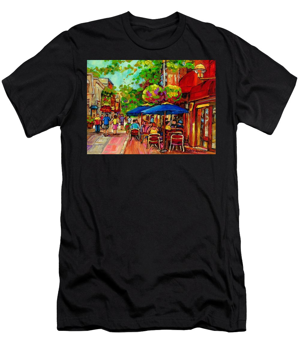 Rue Prince Arthur Montreal Men's T-Shirt (Athletic Fit) featuring the painting Rue Prince Arthur Montreal by Carole Spandau
