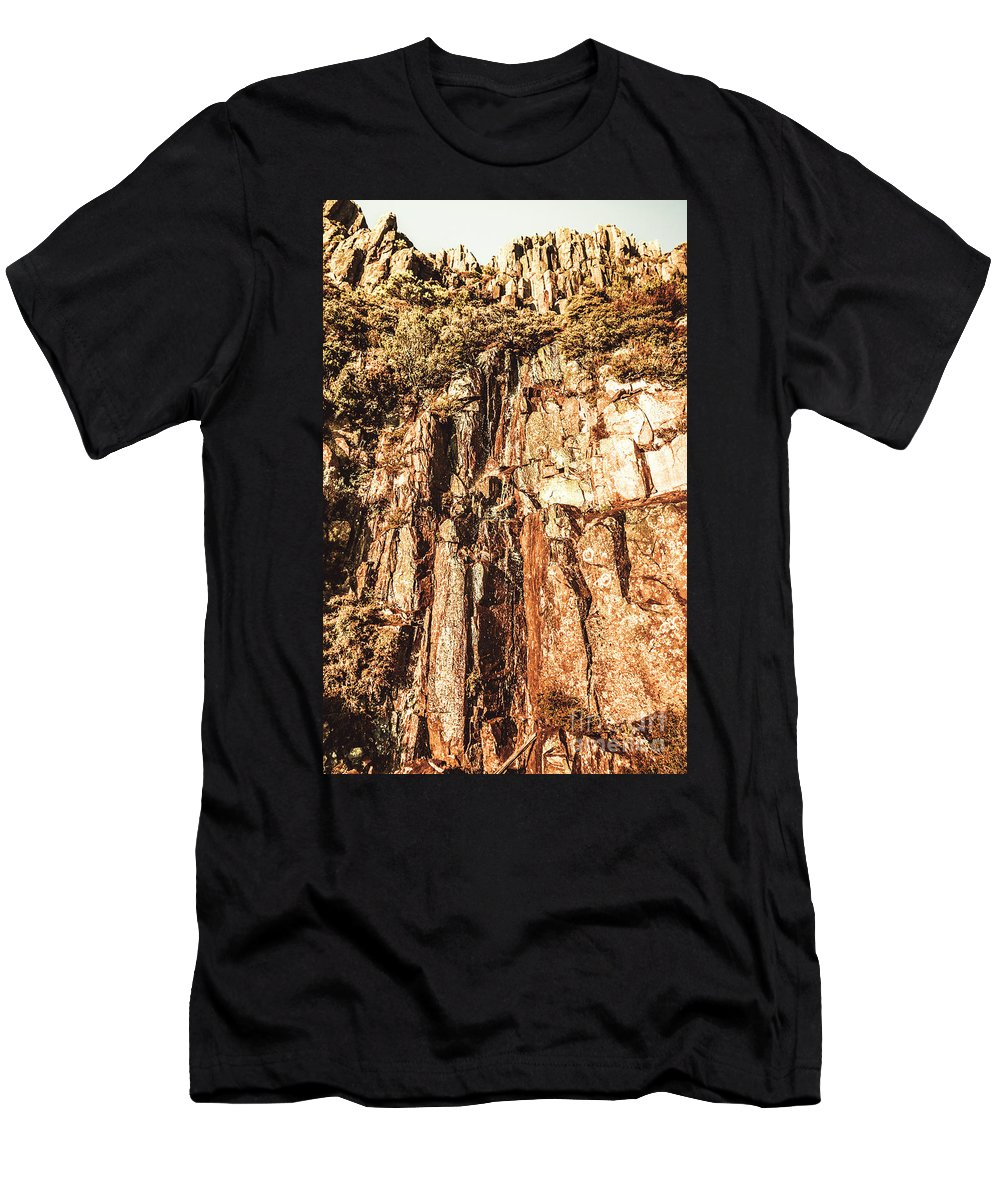 Nature Men's T-Shirt (Athletic Fit) featuring the photograph Rugged Vertical Cliff Face by Jorgo Photography - Wall Art Gallery