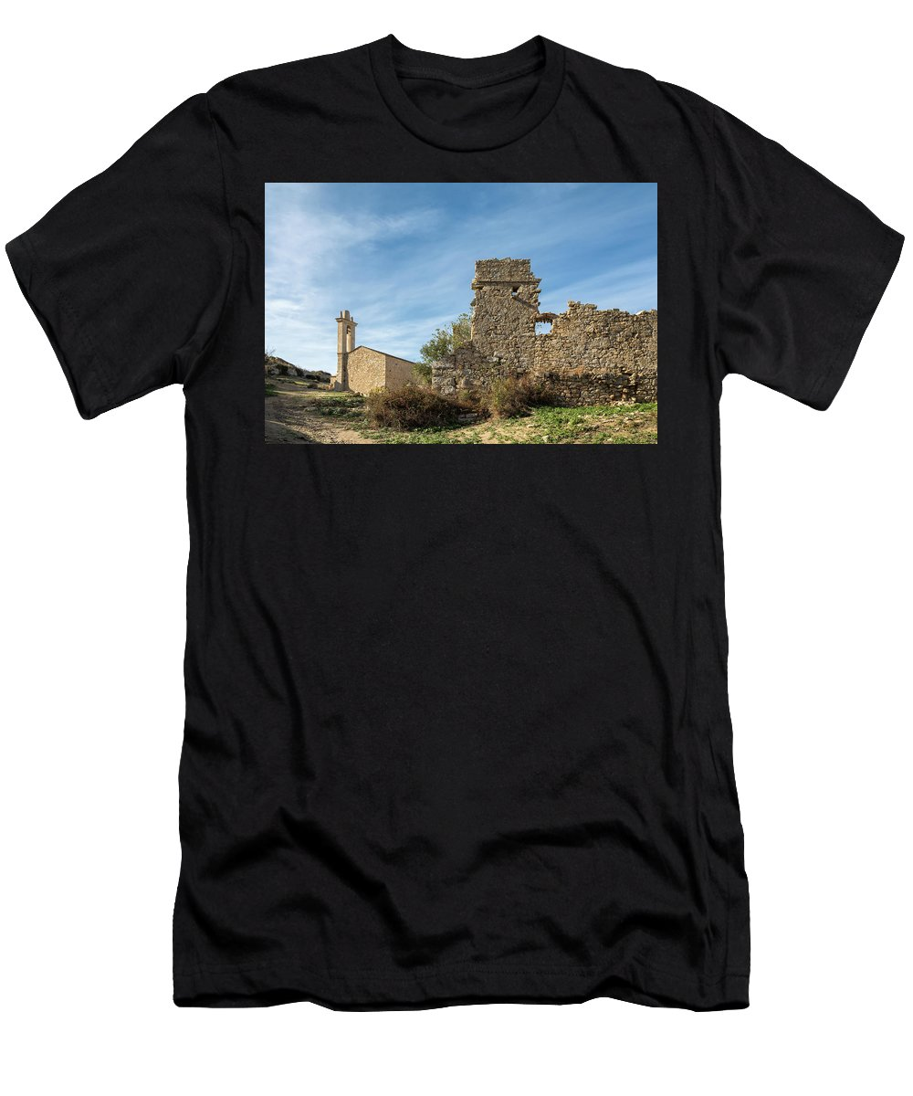 Ancient Men's T-Shirt (Athletic Fit) featuring the photograph Ruined Building And Restored Church At Occi In Corsica by Jon Ingall