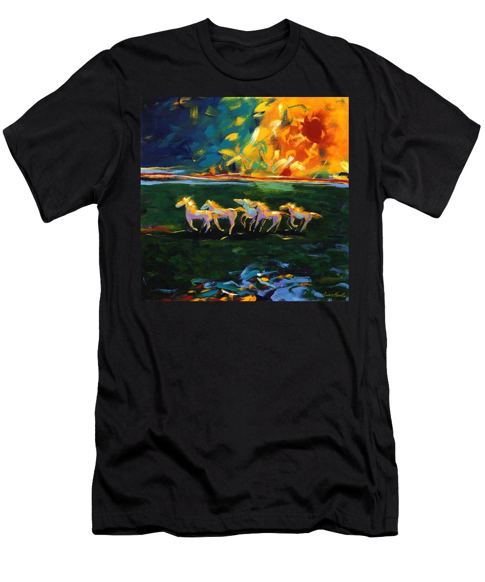 Abstract Horse Men's T-Shirt (Athletic Fit) featuring the painting Run From The Sun by Lance Headlee