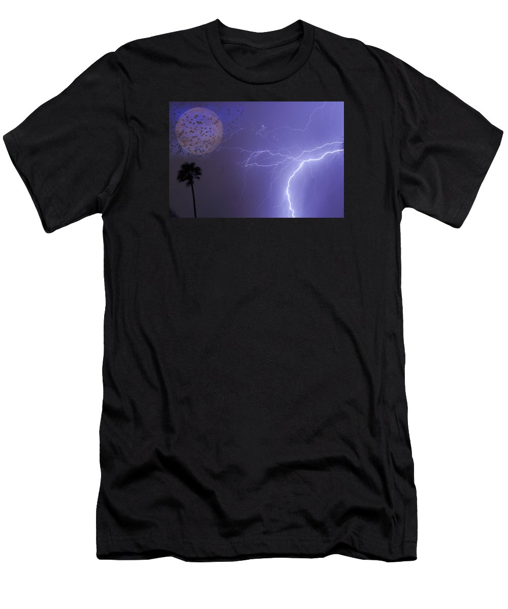 Lightning Men's T-Shirt (Athletic Fit) featuring the photograph Running From The Storm by James BO Insogna