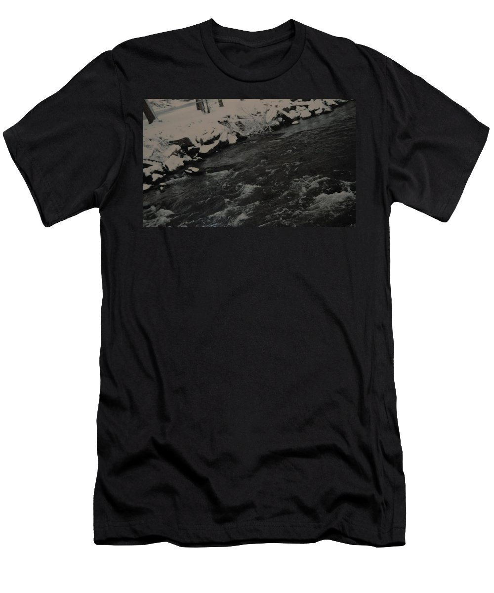 Landscape Men's T-Shirt (Athletic Fit) featuring the photograph Running Water by Rob Hans