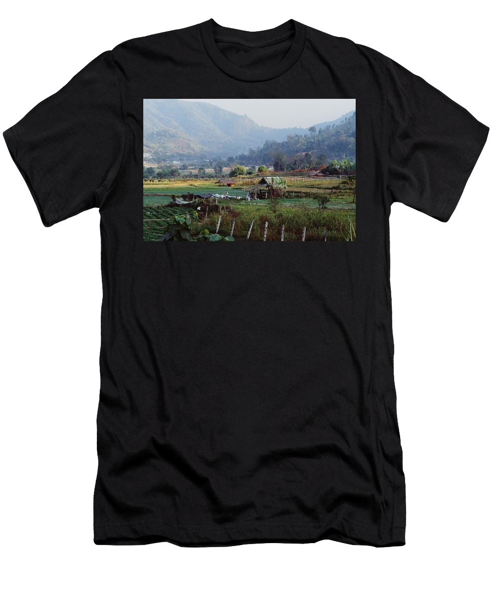 Agriculture Men's T-Shirt (Athletic Fit) featuring the photograph Rural Scene Near Chiang Mai, Thailand by Bilderbuch
