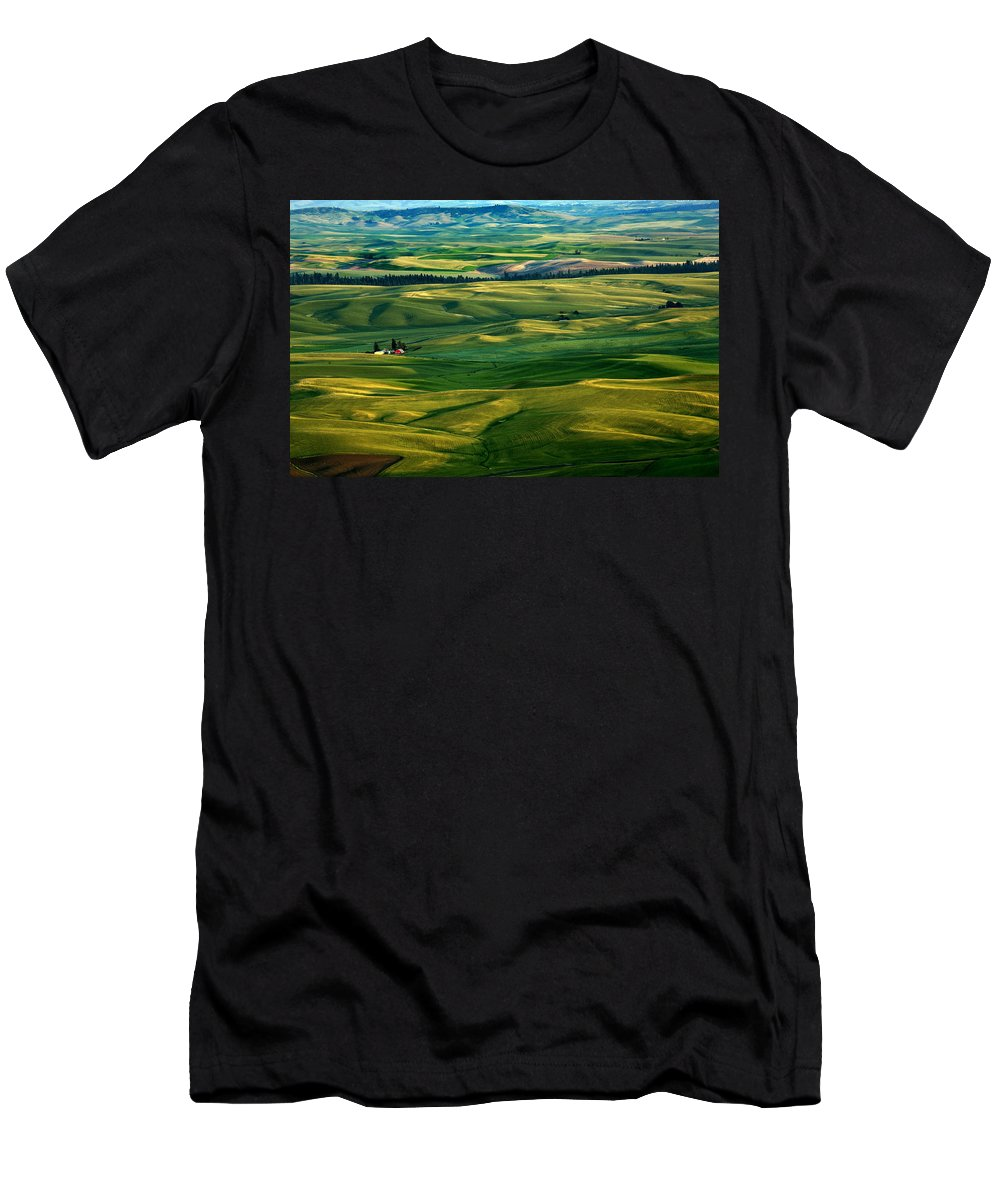 Palouse Hills Men's T-Shirt (Athletic Fit) featuring the photograph Rural Tapestry by Mike Dawson