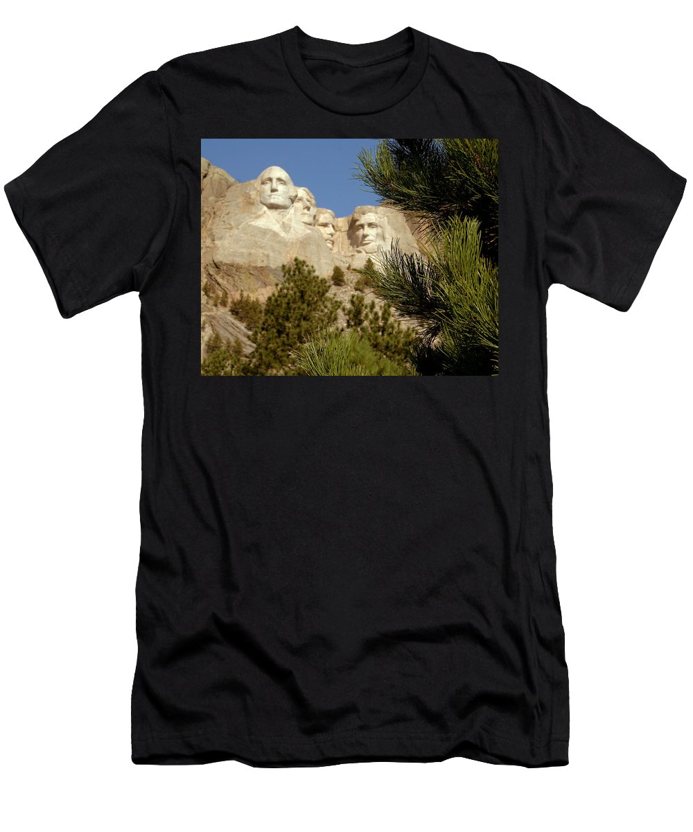 Mount Rushmore Men's T-Shirt (Athletic Fit) featuring the photograph Rushmore Pine Needles by Mike Oistad