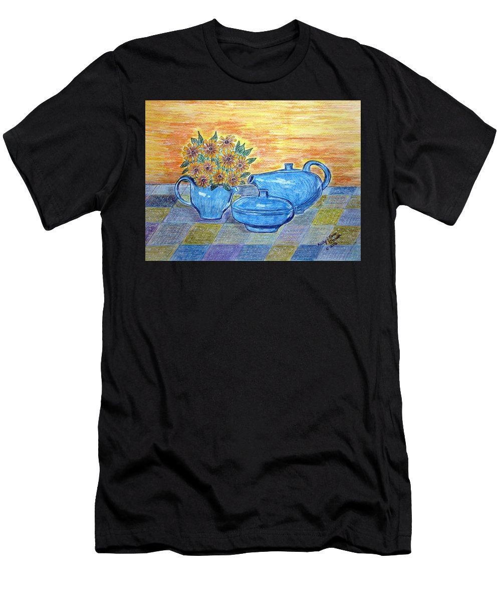 Russell Wright China Men's T-Shirt (Athletic Fit) featuring the painting Russel Wright China by Kathy Marrs Chandler