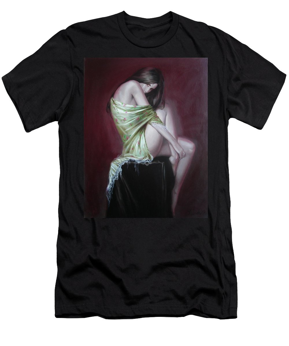 Art Men's T-Shirt (Athletic Fit) featuring the painting Russian Model by Sergey Ignatenko