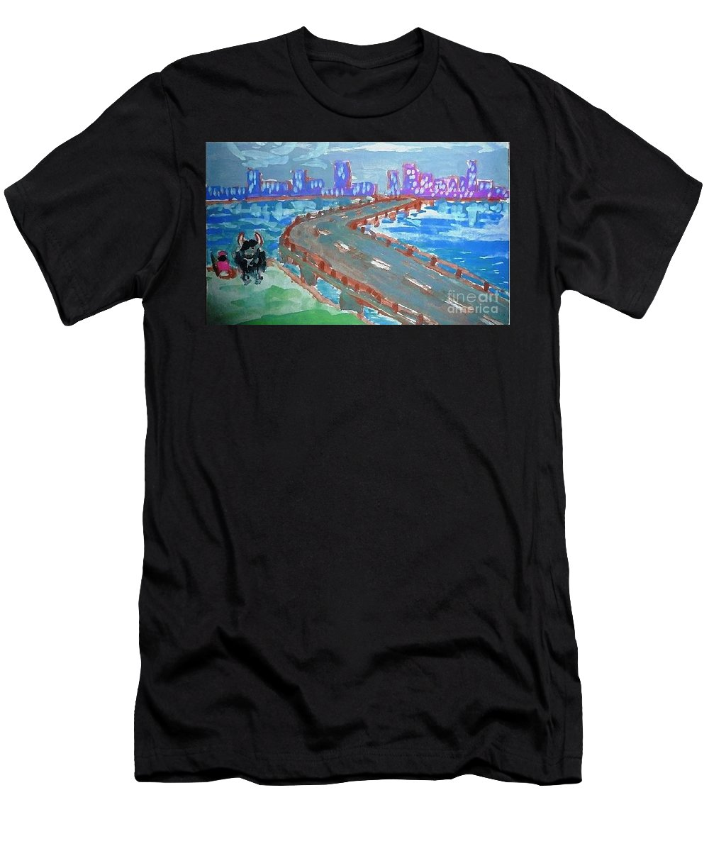 Bridge Men's T-Shirt (Athletic Fit) featuring the painting Rustic-city by Ayyappa Das