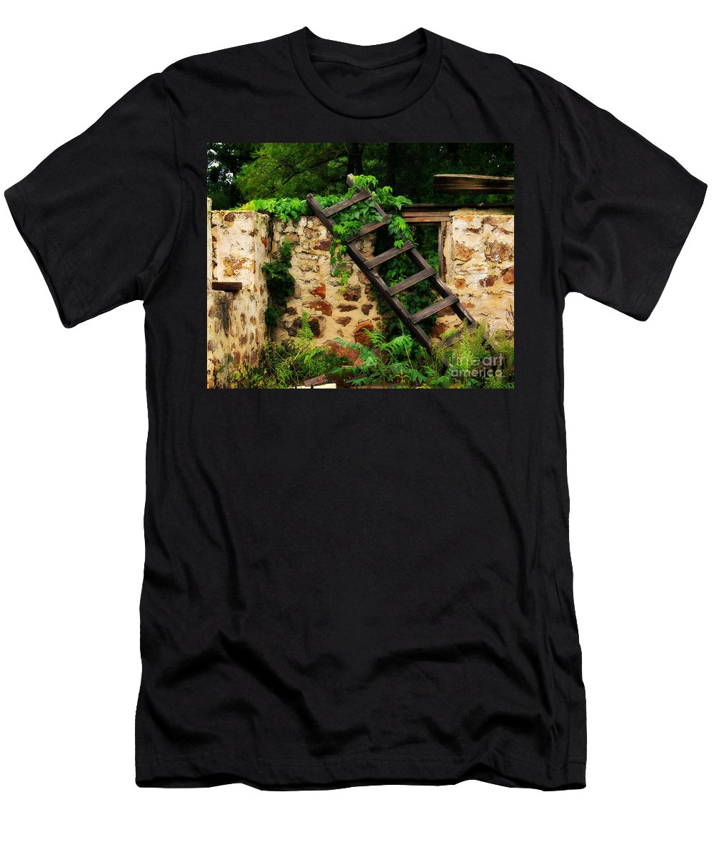 Ladder Men's T-Shirt (Athletic Fit) featuring the photograph Rustic Ladder by Perry Webster