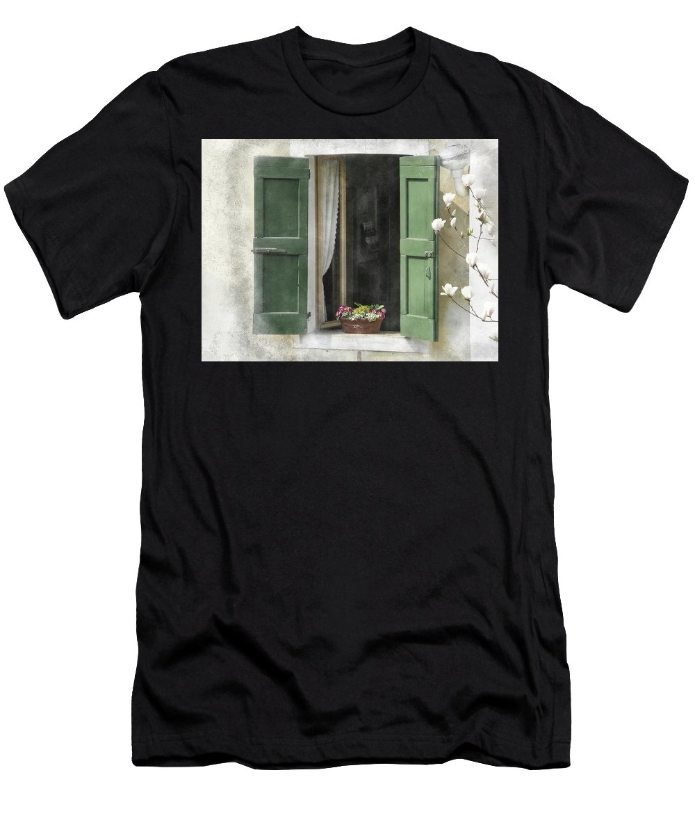 Window Men's T-Shirt (Athletic Fit) featuring the painting Rustic Open Window With Green Shutters by Elaine Plesser
