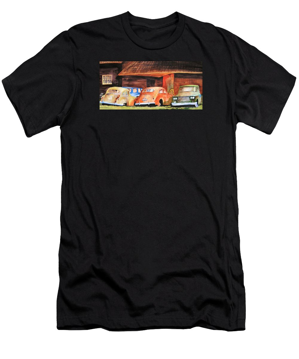 Car Men's T-Shirt (Athletic Fit) featuring the painting Rusting by Karen Stark