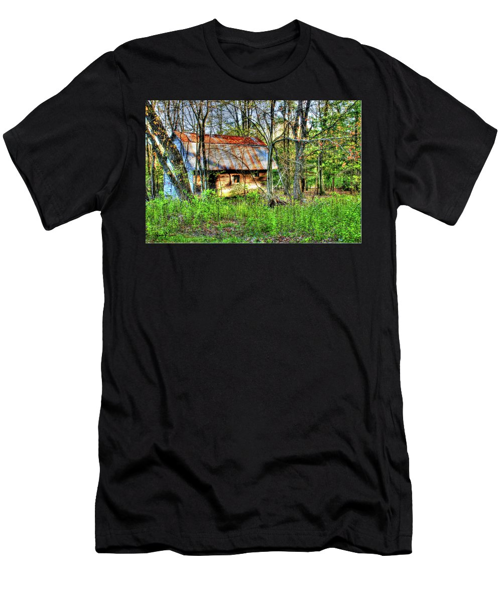 Outdoor Scene Men's T-Shirt (Athletic Fit) featuring the photograph Rusty Roof by Jim Turri