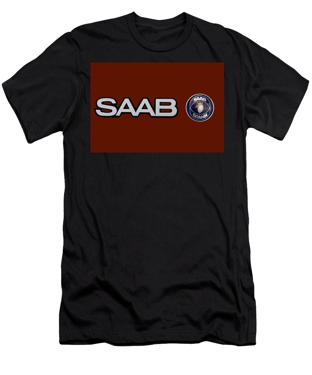 Saab Men's T-Shirt (Athletic Fit) featuring the photograph Saab Logo And Emblem by Nick Gray