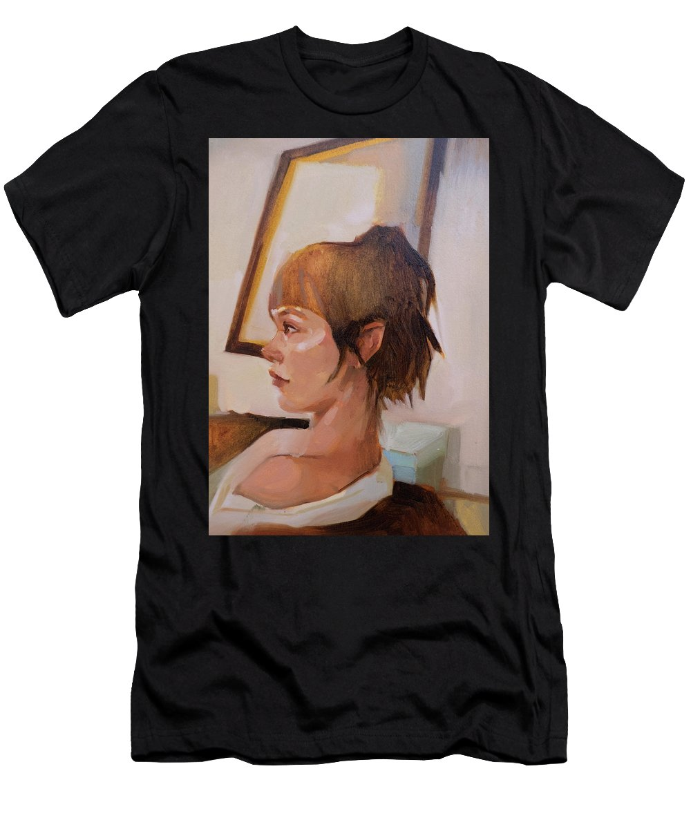 Woman Men's T-Shirt (Athletic Fit) featuring the painting Sabine by Janay Everett