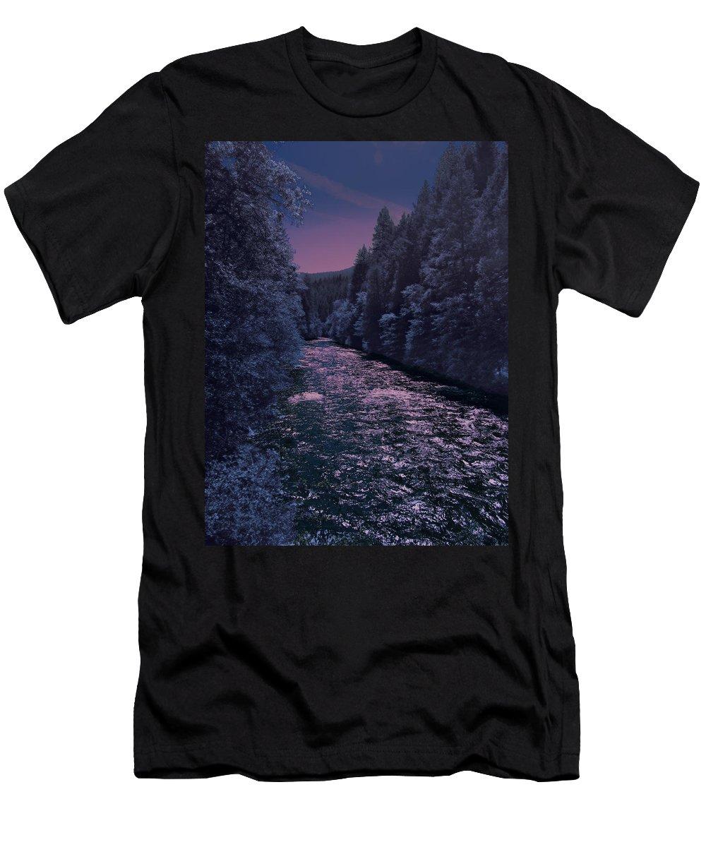 Landscape Men's T-Shirt (Athletic Fit) featuring the photograph Sacramento River by Karen W Meyer