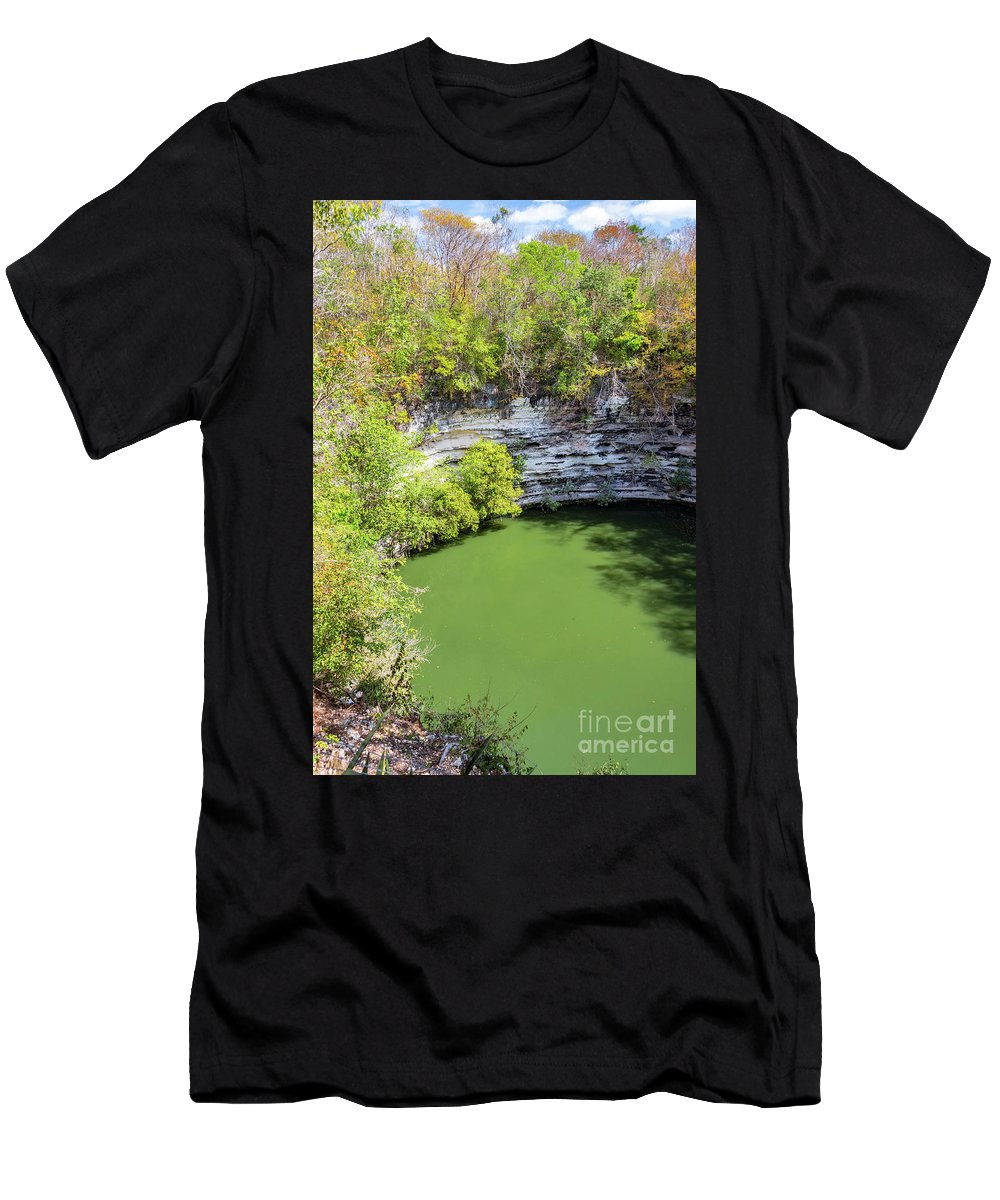 Cenote Men's T-Shirt (Athletic Fit) featuring the photograph Sacred Cenote Vertical View by Jess Kraft