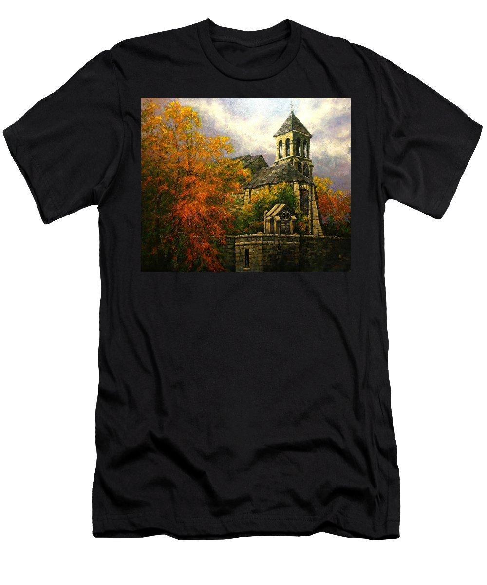 Paris Men's T-Shirt (Athletic Fit) featuring the painting Sacred Heart Chapel Paris by Jim Gola