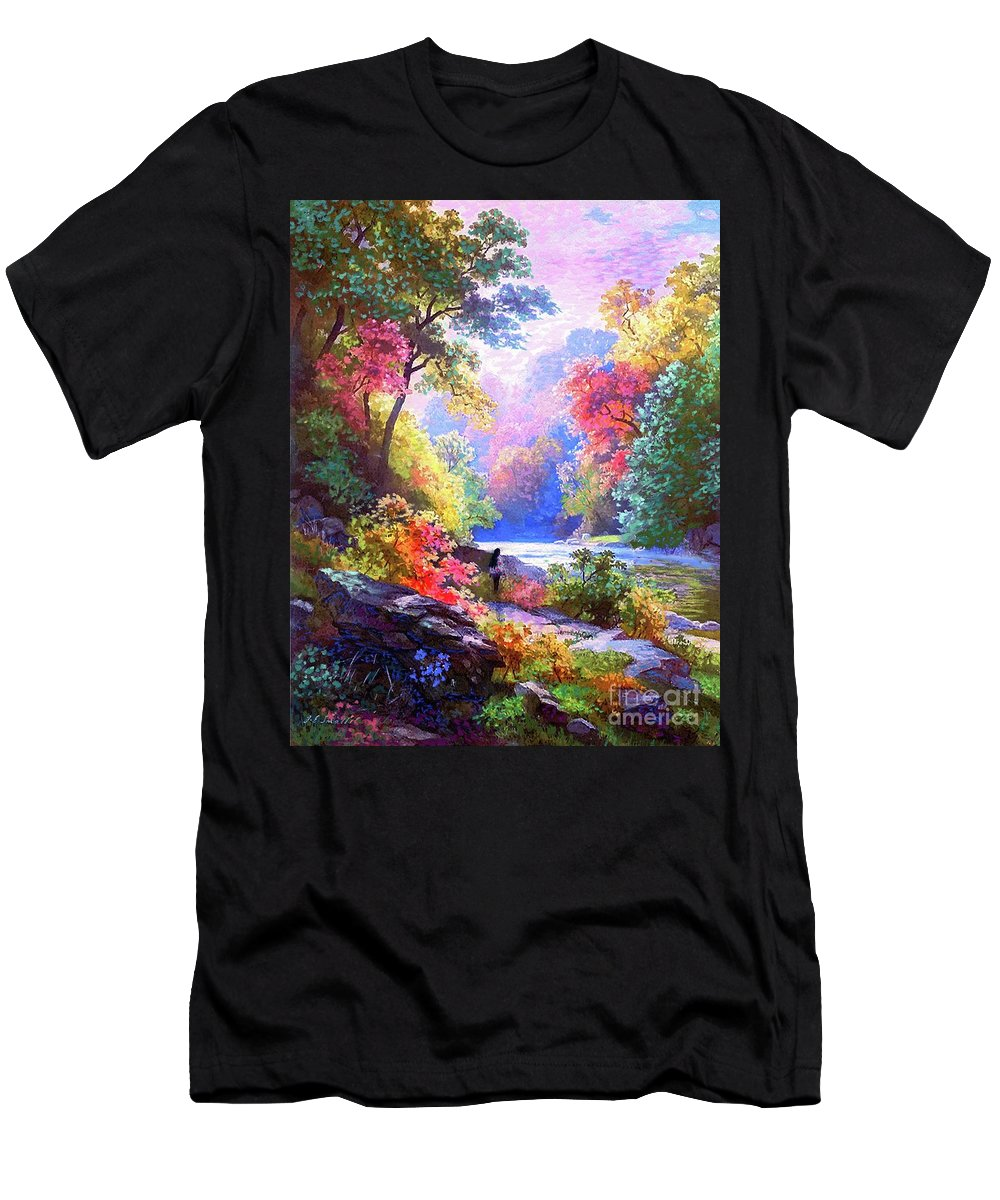 Sun Men's T-Shirt (Athletic Fit) featuring the painting Sacred Landscape Meditation by Jane Small