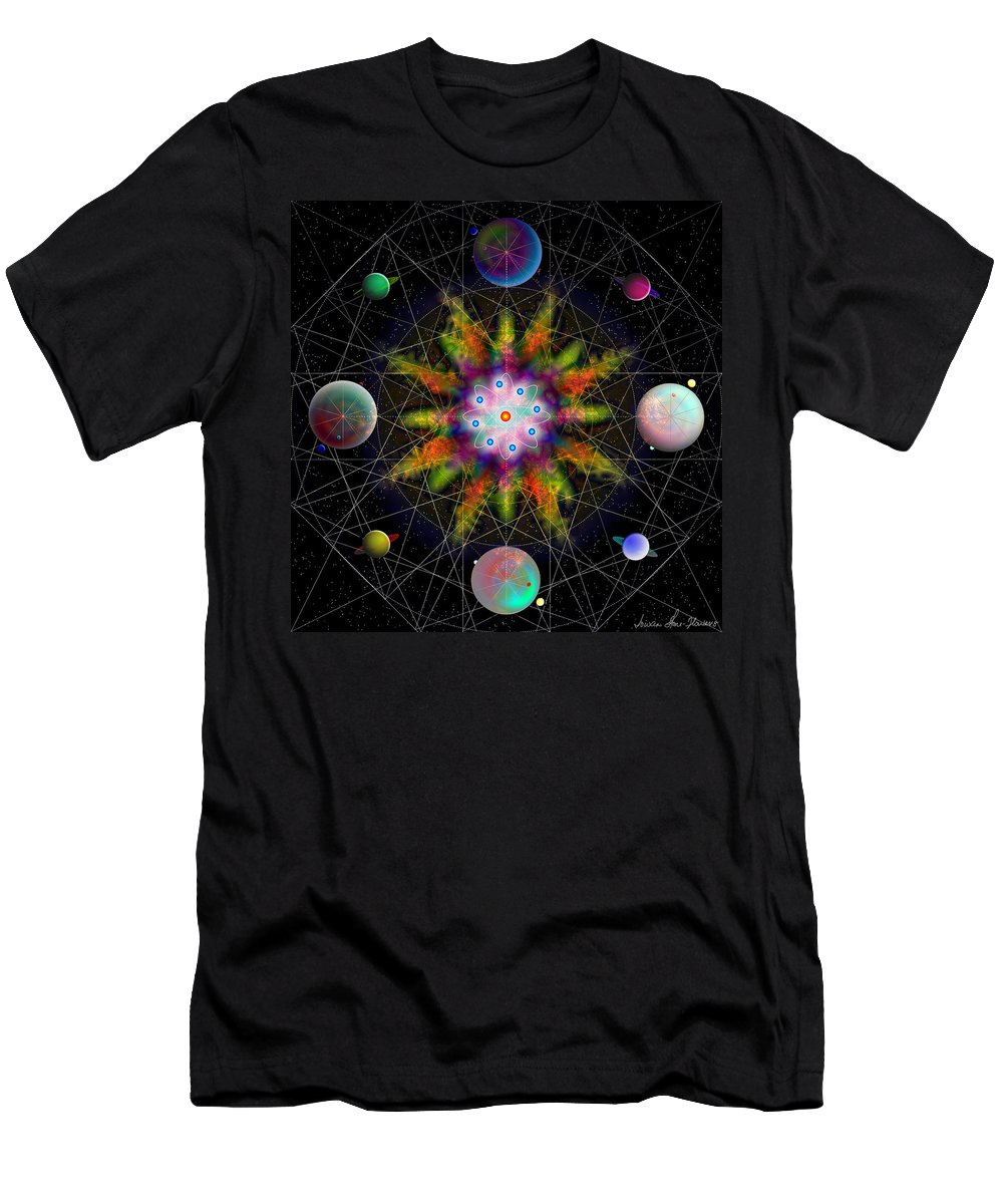 Geometry Men's T-Shirt (Athletic Fit) featuring the digital art Sacred Planetary Geometry - Dark Red Atom by Iowan Stone-Flowers