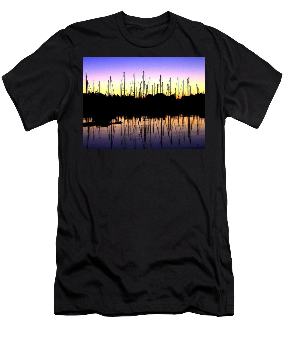 Sailboats Men's T-Shirt (Athletic Fit) featuring the photograph Safe Haven by Will Borden