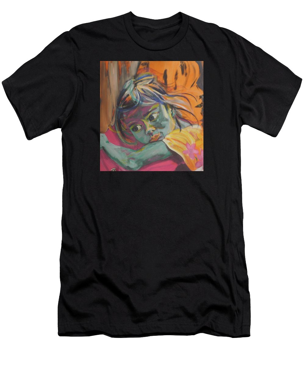 Child Men's T-Shirt (Athletic Fit) featuring the painting Safe In The Arms Of Grandma by Karin McCombe Jones