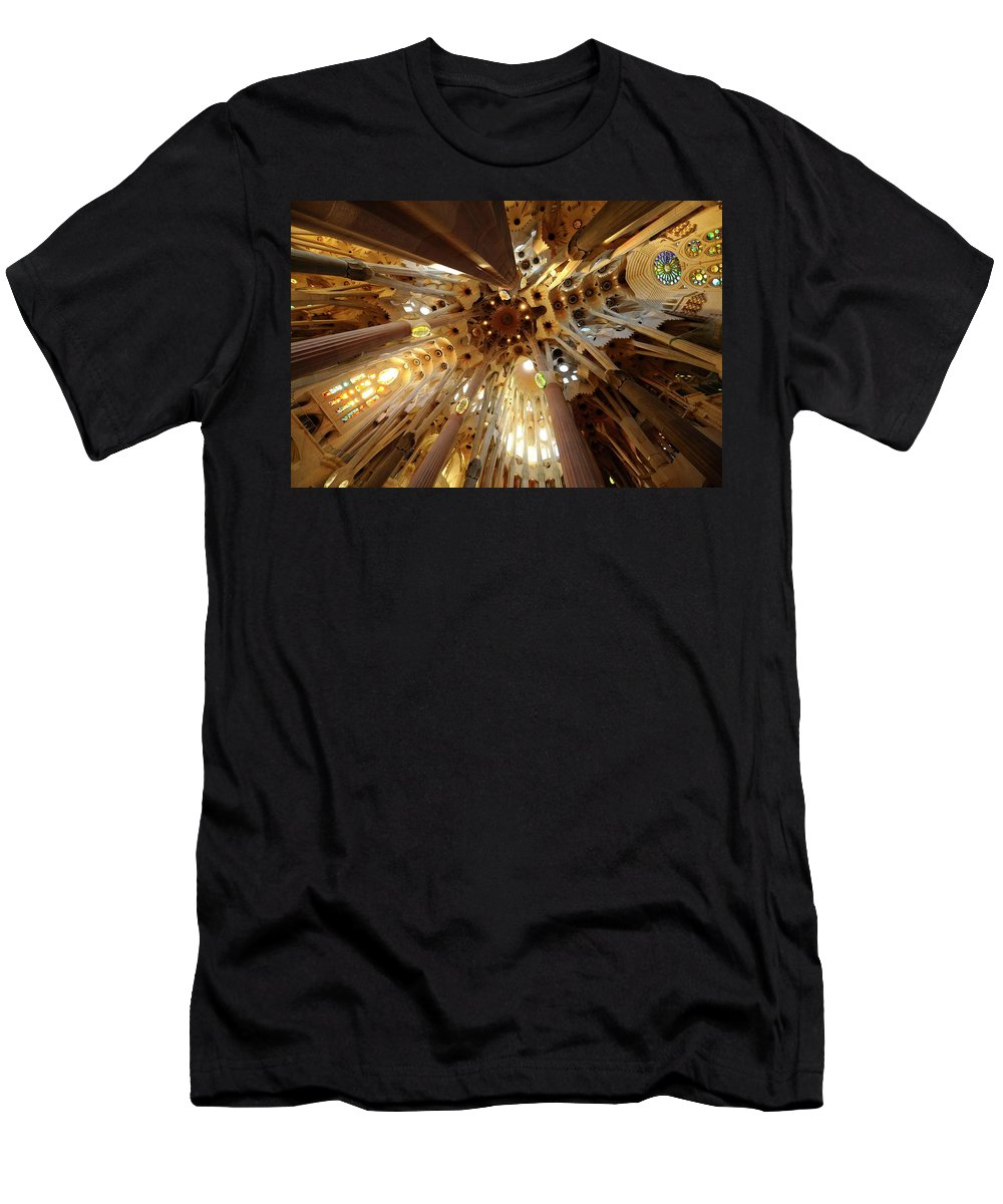 Sagrada Familia Men's T-Shirt (Athletic Fit) featuring the photograph Sagrada Familia In Barcelona by Merijn Van der Vliet